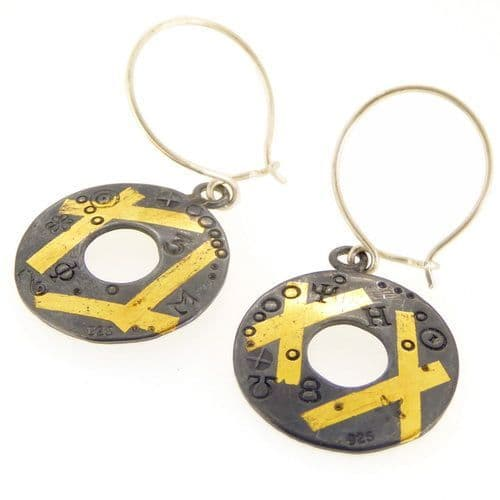 Round keum boo silver and gold earrings oxidised with gold crosses
